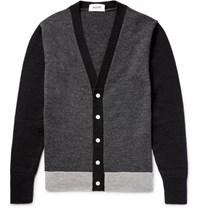 Aloye Colour Block Wool Cardigan Gray