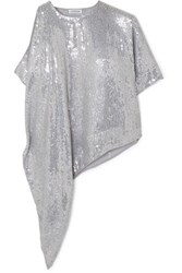 Ashish Asymmetric Sequined Georgette Top Silver