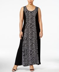 Ny Collection Plus Size Chevron Print Maxi Dress Onyx Highwave