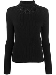 Ermanno Scervino Glass Embellished Knit Sweater Black