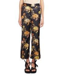 Dries Van Noten Poiretti Floral Print Satin Pants Black