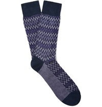 Missoni Patterned Cotton Blend Socks Purple