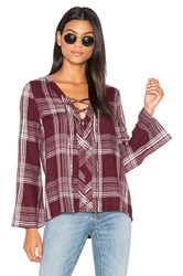Maven West Lace Up Bell Sleeve Top Burgundy