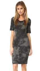 Raquel Allegra Short Sleeve Fitted Dress Army Tie Dye