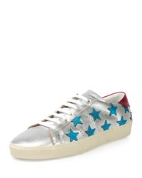 Saint Laurent Metallic Stars Leather Low Top Sneaker Silver Blue Men's Size 40Eu 7Us