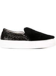 Joshua Sanders Faux Fur And Glitter Sneakers Black