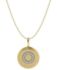 Macy's 14K Gold Necklace Diamond Accent Letter O Disk Pendant