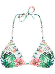 Amir Slama Printed Triangle Bikini Top White