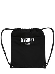 Givenchy Logo Printed Cordura Drawstring Backpack
