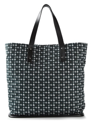 Dolce And Gabbana Hat Tile Pattern Tote Blue