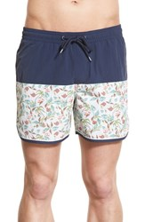 Men's 1901 'Fidalgo' Colorblock Scalloped Swim Trunks Navy Dress Palm Glass Print