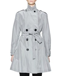 Olivier Theyskens Belted Micro Check Trenchcoat White Black