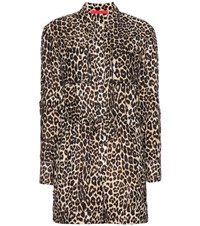 Tamara Mellon Cotton And Silk Blend Leopard Print Jumpsuit Black