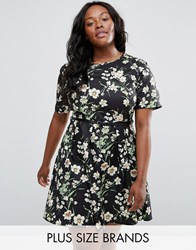Yumi Plus Skater Dress In Floral Print With Belt Black