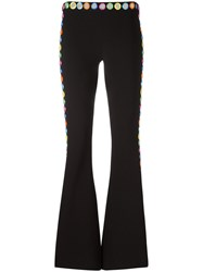 Moschino Mirror Embroidered Flared Trousers Black