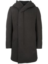 Attachment Hooded Mid Length Coat Brown