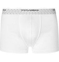 Dolce And Gabbana Modal Silk Blend Jersey Boxer Briefs White