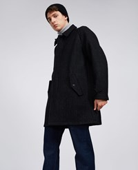 Aspesi Wool Blend Raincoat Turbato Black