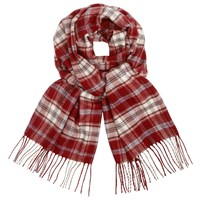 John Lewis Cashmink Classic Check Scarf Red White