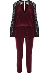 Mason By Michelle Mason Lace Paneled Silk Crepe De Chine Jumpsuit Red