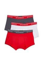Emporio Armani 3 Pack Stretch Cotton Trunks Anthracite White Red