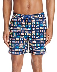Original Penguin Nautical Flags Swim Trunks Monaco Blue