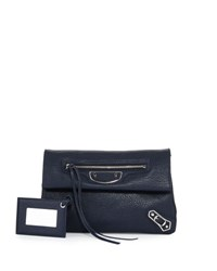 Balenciaga Metallic Edge Mini Clutch Bag Blue