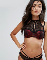 Glamorous Red And Black Lace High Neck Bra