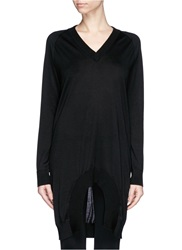 Givenchy Scoop Hem Cashmere Silk Sweater Black