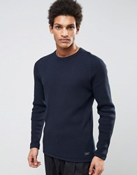 Selected Homme Knitted Waffle Jumper In 100 Cotton Dark Sapphire Blue