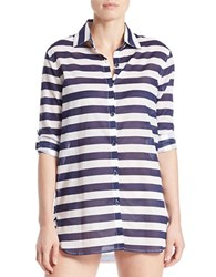 Anne Cole Rugby Stripe Shirt Tunic Multi