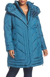 Gallery Plus Size Women's Pillow Collar Quilted Walker Coat Teal Blue