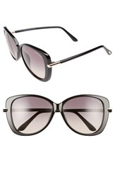 Tom Ford Women's Linda 59Mm Special Fit Butterfly Sunglasses Black Gold Grey Gradient Black Gold Grey Gradient