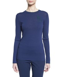 Grey By Jason Wu Long Sleeve Contrast Tipped Pullover Marine Deep Forest