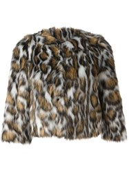 Moschino Leopard Print Faux Fur Jacket Nude And Neutrals