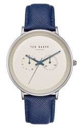 Ted Baker London Brad Multifunction Leather Strap Watch 42Mm Gold Dark Blue