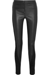 Alice Olivia Paneled Suede And Leather Skinny Pants