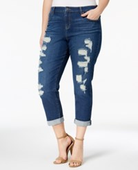 Style And Co Plus Size Ripped Boyfriend Jeans Created For Macy's Marine