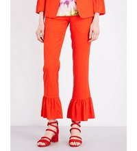 Sandro Frilled Hem Cropped Trousers Red