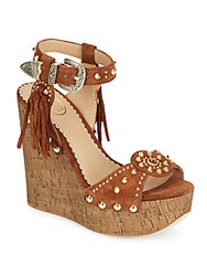 Ash Bliss Studded Suede And Cork Wedge Sandals Sigaro