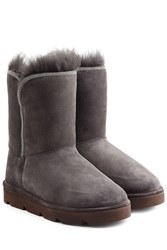 Brunello Cucinelli Fur Lined Sueded Boots Grey