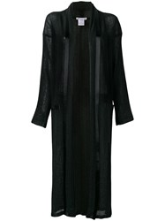 Issey Miyake Vintage Long Pleated Open Front Jacket Black