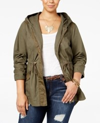 American Rag Trendy Plus Size Hooded Anorak Only At Macy's Dusty Olive