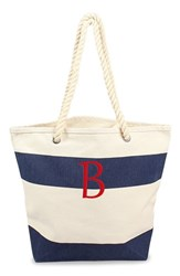 Cathy's Concepts Personalized Stripe Canvas Tote Blue Navy B