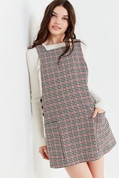 Urban Outfitters Uo Checkered Pinafore Dress Black Multi