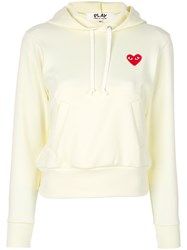 Comme Des Garcons Play Logo Hoodie White