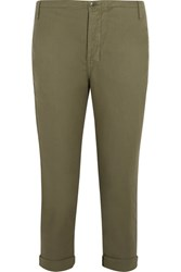 The Great Carpenter Cropped Twill Slim Leg Pants Army Green