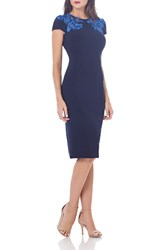 Js Collections Women's Embroidered Jersey Sheath Dress