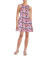 Gabby Skye Floral Fit And Flare Dress Ivory Purple