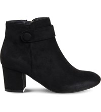 Office Libby Button Detail Ankle Boots Black